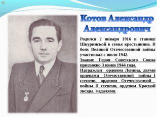 Родился 2 января 1916 в станице Шкуринской в семье крестьянина. В боях Велико