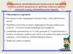 ОЖИДАЕМЫЕ (ПЛАНИРУЕМЫЕ) РЕЗУЛЬТАТЫ ИЗУЧЕНИЯ освоения учебной программы по пре