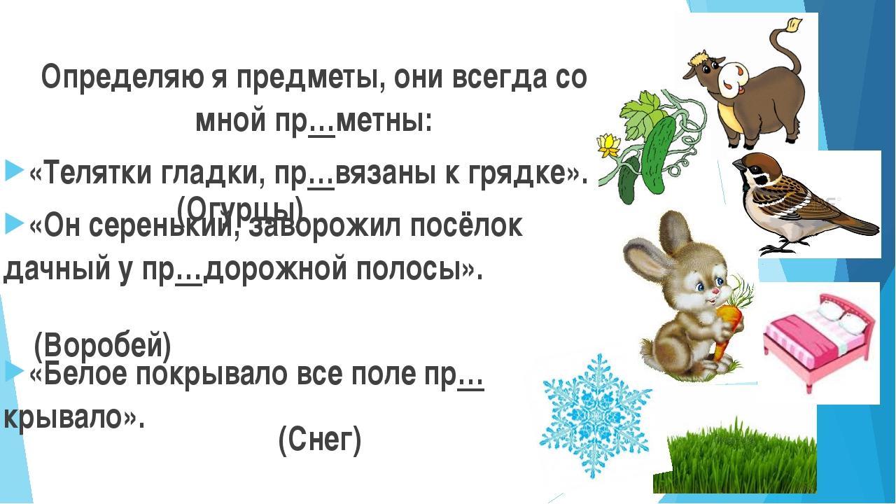 Определяю я предметы, они всегда со мной пр…метны: «Телятки гладки, пр…вязаны...
