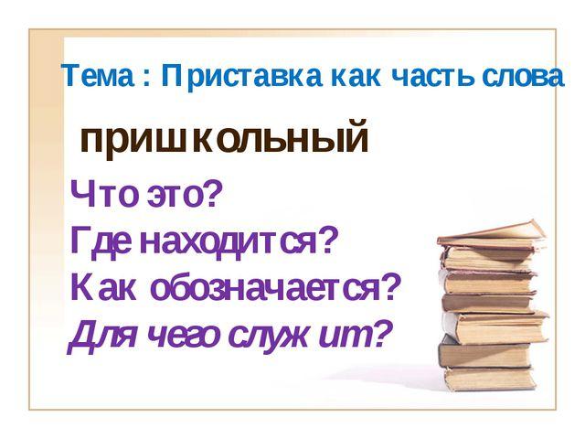 Тема : Приставка как часть слова Что это? Где находится? Как обозначается? Дл...
