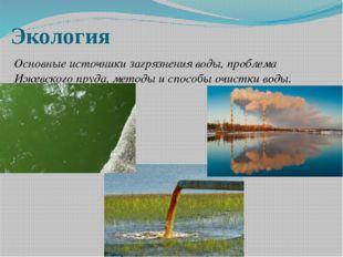 Экология Основные источники загрязнения воды, проблема Ижевского пруда, метод