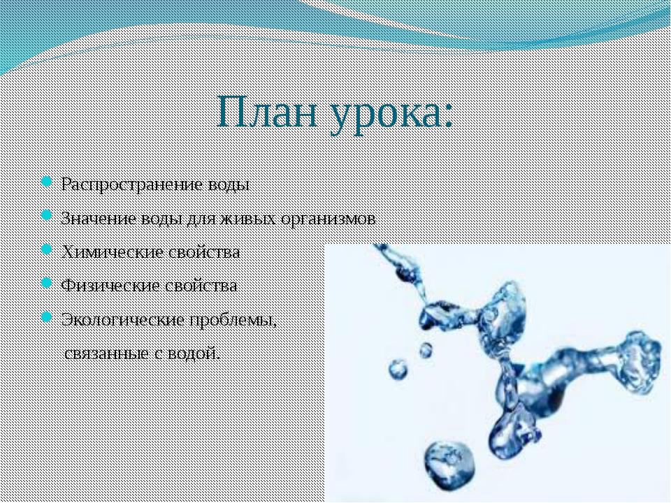 План урока: Распространение воды Значение воды для живых организмов Химически...