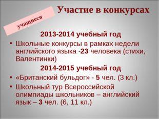 учащиеся Участие в конкурсах 2013-2014 учебный год Школьные конкурсы в рамках