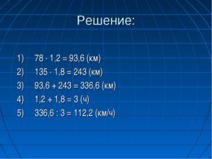 Решение:  1) 78 ∙ 1,2 = 93,6 (км) 2) 135 ∙ 1,8 = 243 (км) 3) 93