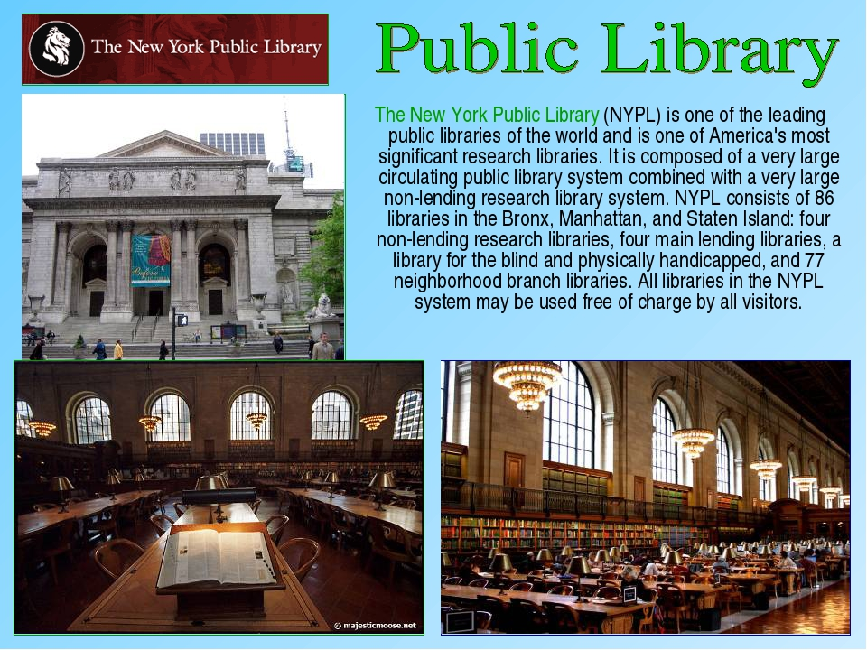 The New York Public Library (NYPL) is one of the leading public libraries of...
