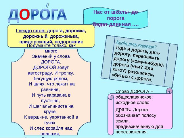 Нас от школы до порога Ведет длинная …. Слово ДОРОГА – общеславянское; исходн...