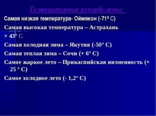Температурные рекордсмены: Самая низкая температура- Оймякон (-71º С) Самая в