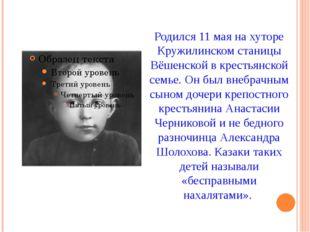 Родился 11 мая на хуторе Кружилинском станицы Вёшенской в крестьянской семье.