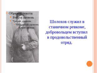 Шолохов служил в станичном ревкоме, добровольцем вступил в продовольственный