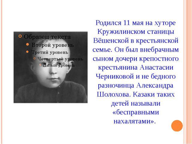 Родился 11 мая на хуторе Кружилинском станицы Вёшенской в крестьянской семье....