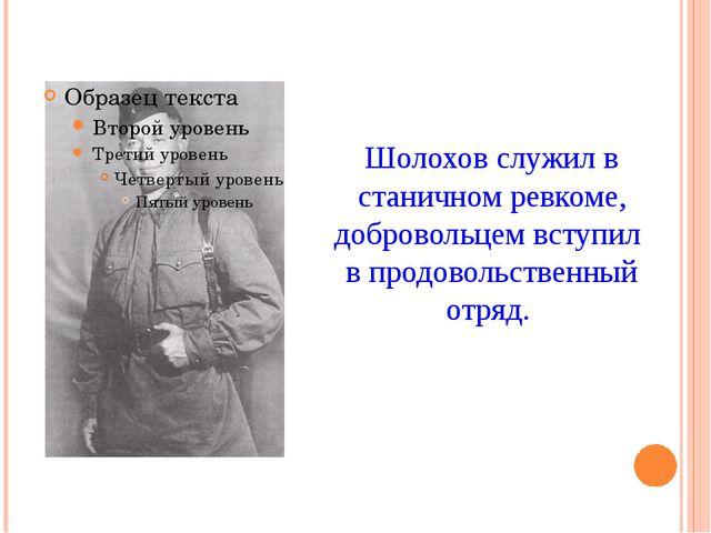 Шолохов служил в станичном ревкоме, добровольцем вступил в продовольственный...