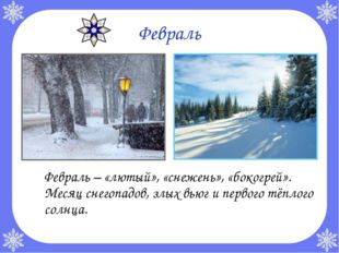 Февраль Февраль – «лютый», «снежень», «бокогрей». Месяц снегопадов, злых вью