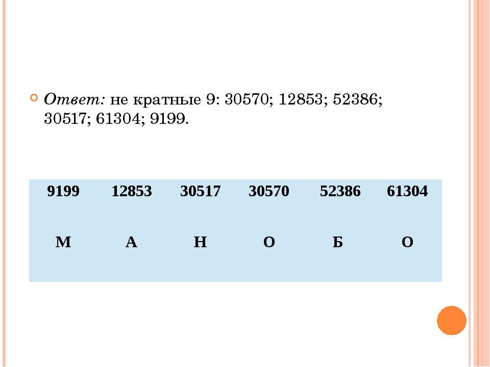 Ответ: не кратные 9: 30570; 12853; 52386; 30517; 61304; 9199. 9199 12853 305...