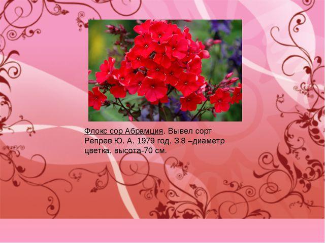 Флокс сор Абрамция. Вывел сорт Репрев Ю. А. 1979 год. З.8 –диаметр цветка, вы...