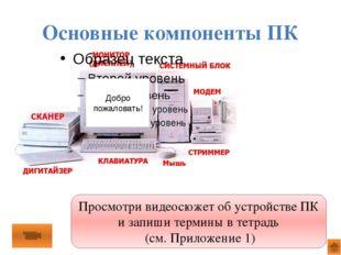 Задание Установите правильное соответствие, разместив названия компонентов ПК