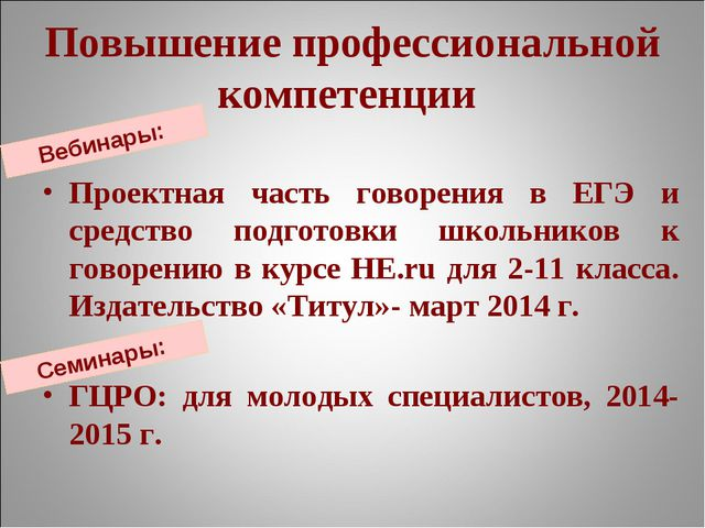 Повышение профессиональной компетенции Проектная часть говорения в ЕГЭ и сред...