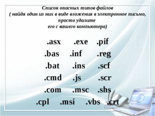 Список опасных типов файлов ( найдя один из них в виде вложения в электронное