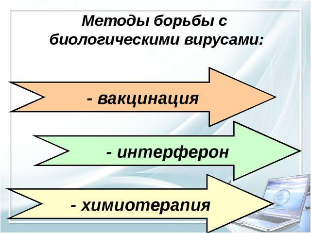 Методы борьбы с биологическими вирусами: - вакцинация - интерферон - химиотер...