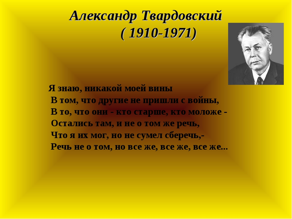 Александр Твардовский ( 1910-1971) Я знаю, никакой моей вины В том, что други...