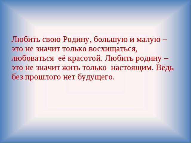 Любить свою Родину, большую и малую – это не значит только восхищаться, любов...