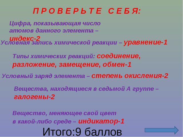 П Р О В Е Р Ь Т Е С Е Б Я: Цифра, показывающая число атомов данного элемента...