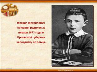 * * Михаил Михайлович Пришвин родился 23 января 1873 года в Орловской губерни