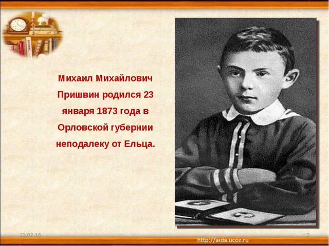 * * Михаил Михайлович Пришвин родился 23 января 1873 года в Орловской губерни...