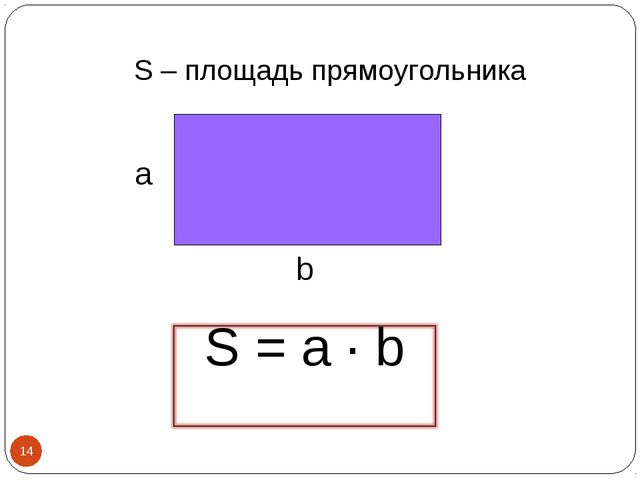 S – площадь прямоугольника а b *