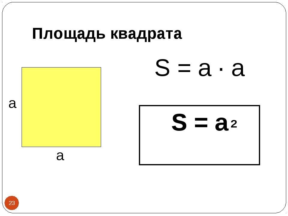 Площадь квадрата S = a · а а а *