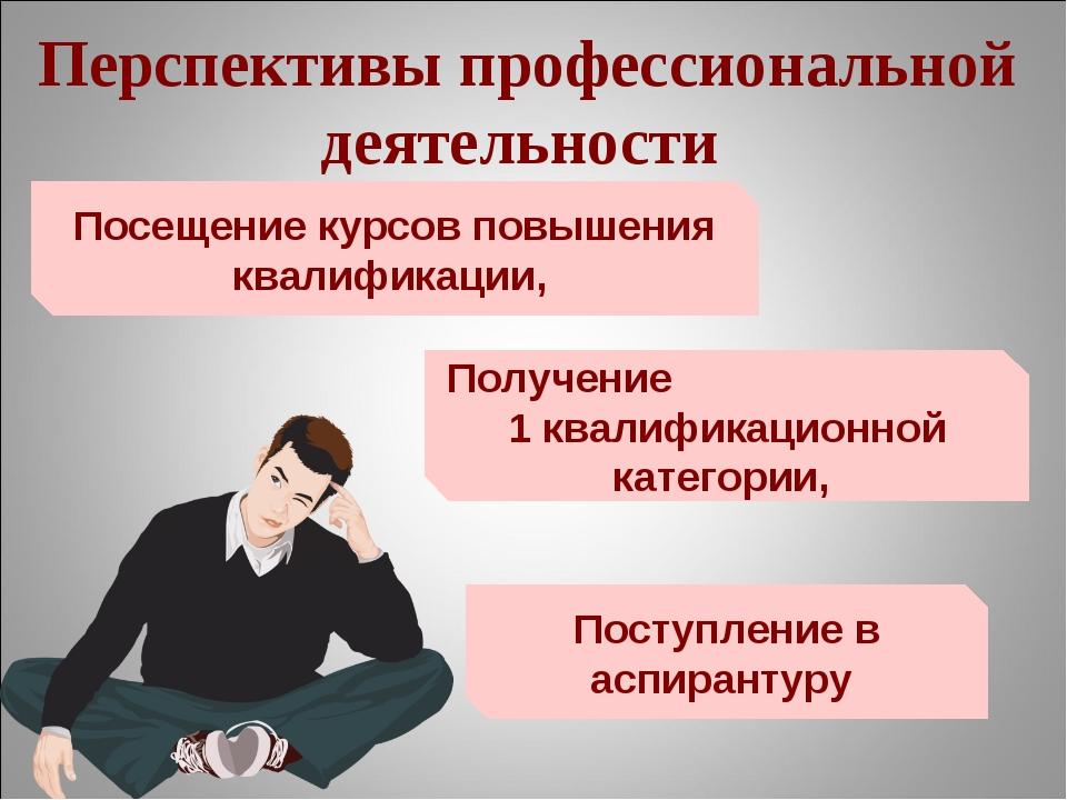 Перспективы профессиональной деятельности Поступление в аспирантуру Получение...
