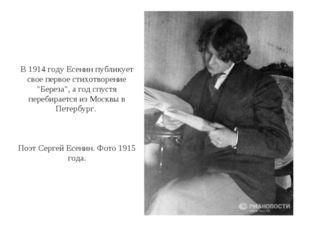 """В 1914 году Есенин публикует свое первое стихотворение """"Береза"""", а год спустя"""