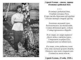 Сергей Есенин - стихи, лирика Я покинул родимый дом * * * Я покинул родим
