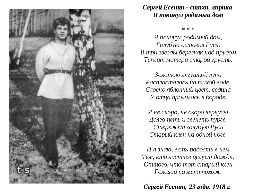 Сергей Есенин - стихи, лирика Я покинул родимый дом * * * Я покинул родим...