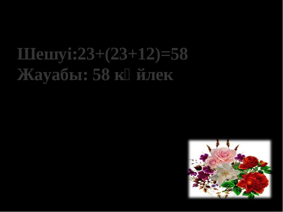 Шешуі:23+(23+12)=58 Жауабы: 58 көйлек