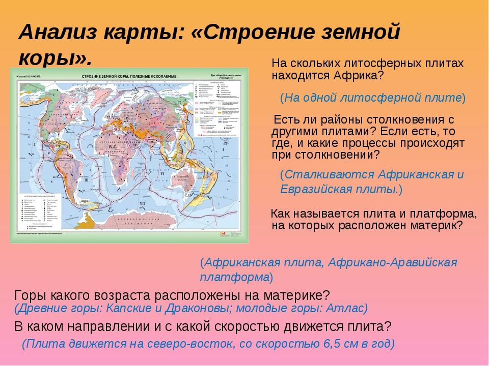 Анализ карты: «Строение земной коры». На скольких литосферных плитах находи...
