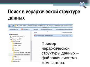 Поиск в иерархической структуре данных Пример иерархической структуры данных