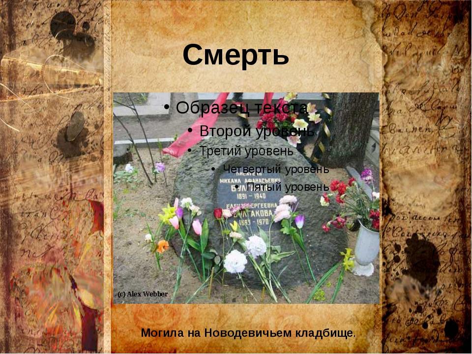 Смерть Могила на Новодевичьем кладбище.