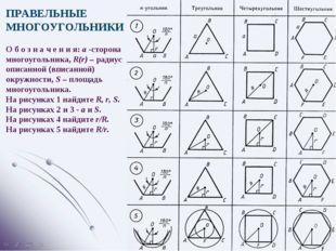 ПРАВЕЛЬНЫЕ МНОГОУГОЛЬНИКИ О б о з н а ч е н и я: a -сторона многоугольника, R