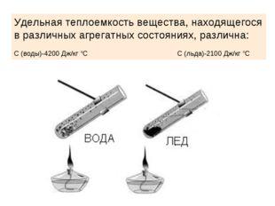Удельная теплоемкость вещества, находящегося в различных агрегатных состояния