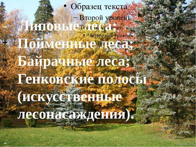 - Липовые леса; Пойменные леса; Байрачные леса; Генковские полосы (искусстве...