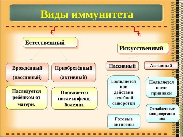 Виды иммунитета Естественный Искусственный Врождённый (пассивный) Приобретённ...