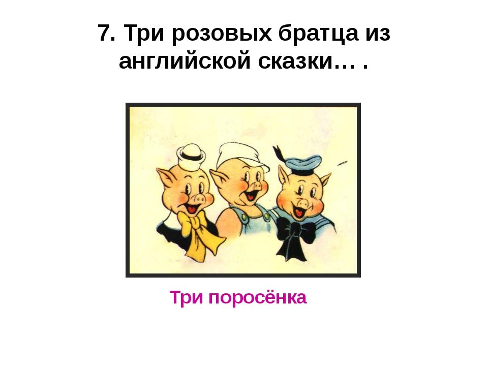 7. Три розовых братца из английской сказки… . Три поросёнка