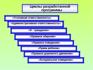 Циклы разработанной программы «Уголовная ответственность» «Административная о