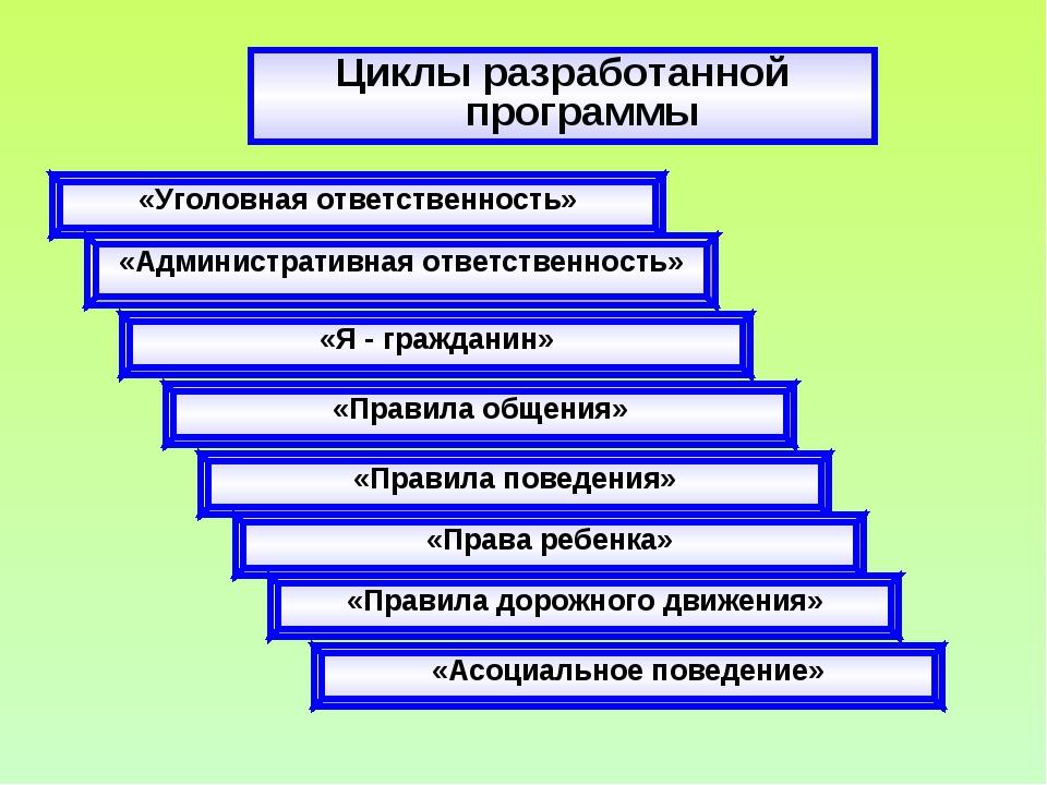 Циклы разработанной программы «Уголовная ответственность» «Административная о...