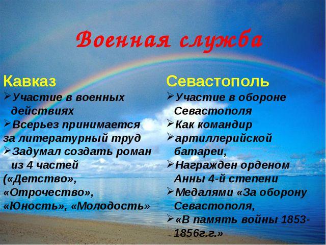 Военная служба Кавказ Участие в военных действиях Всерьез принимается за лите...