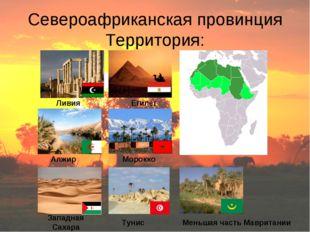 Североафриканская провинция Территория: Ливия Египет Тунис Алжир Морокко Запа