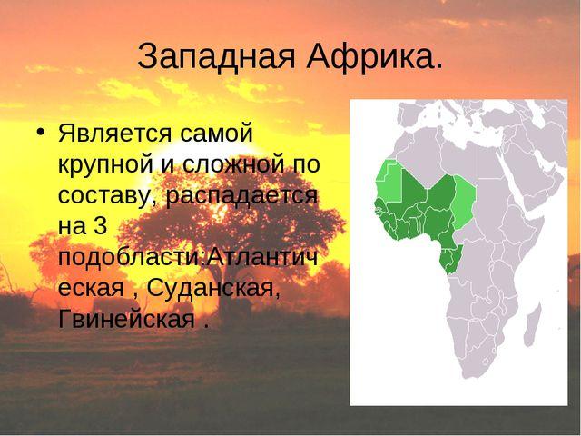 Западная Африка. Является самой крупной и сложной по составу, распадается на...