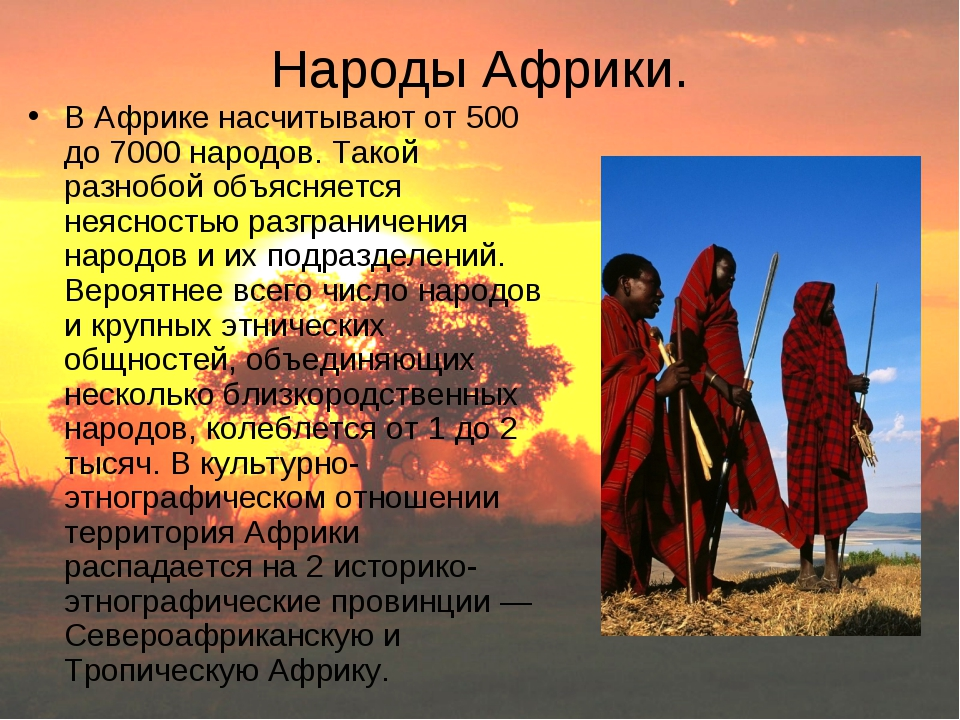 Народы Африки. В Африке насчитывают от 500 до 7000 народов. Такой разнобой об...