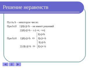 Решение неравенств Пусть b – некоторое число. При b≤0 1)|f(x)|b – x (-∞; +∞)