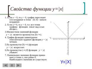 Свойства функции y=|x| 1. Если х = 0, то у = 0, график пересекает оси координ